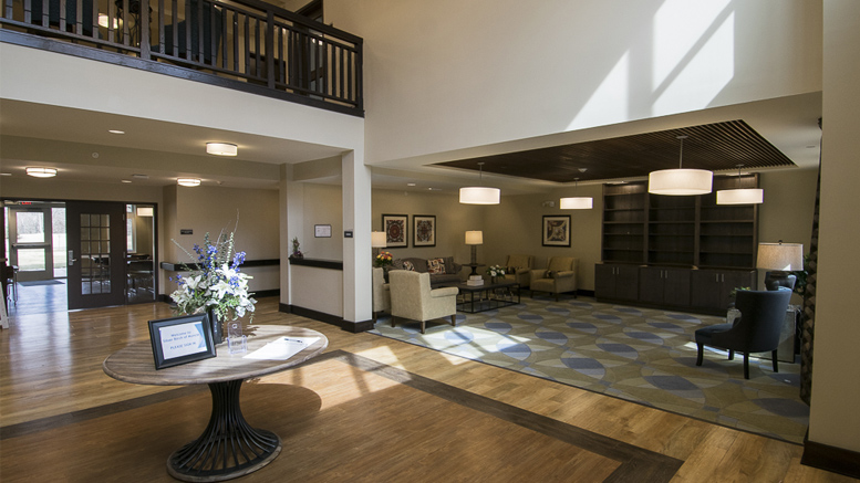 The open and airy lobby just inside the entrance of Silver Birch of Muncie. Photo by: Mike Rhodes