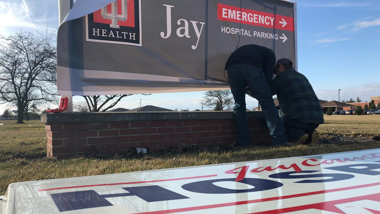 New IU Heath Jay signage being installed. Photo provided