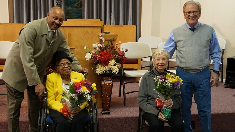 Pictured L-R: City Councilman Julius Anderson, Emma Price, Marilyn Carey and Mayor Dennis Tyler. Photo provided.