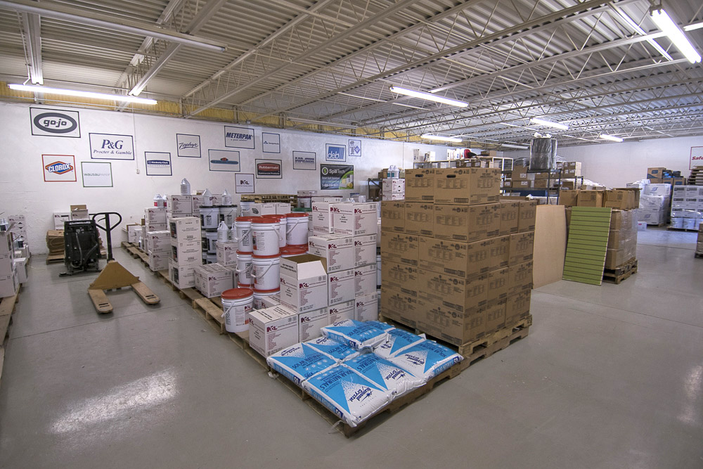 A portion of Dalton & Co.'s 7,000 ft. warehouse is pictured. Large volumes of commercial janitorial supplies are stored in this section of the warehouse. Paper products and other packaged materials are stored in another large section of the warehouse. Photo by: Mike Rhodes