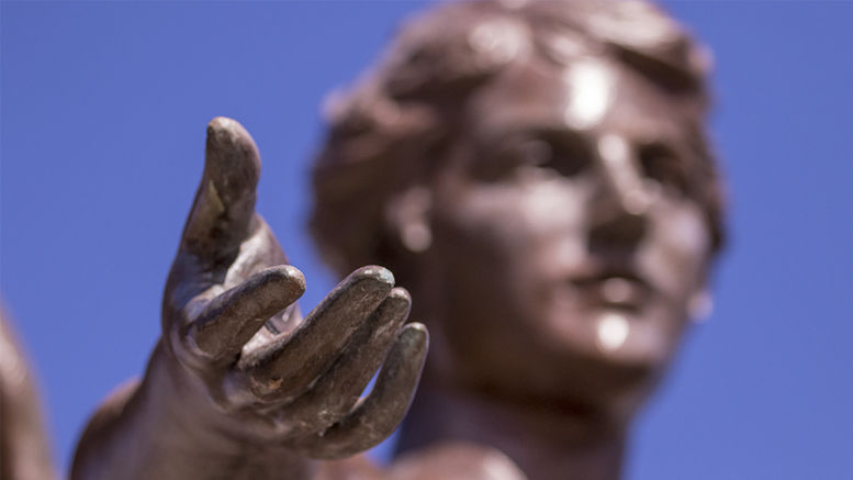 "Beneficence, affectionately called ""Benny,"" is Ball State's institutional icon. She symbolizes the generosity of the five Ball brothers whose land donation to the state of Indiana allowed Ball State to flourish."