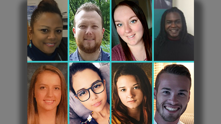 Michelle Hill, Patrick Kelley, Kaitlyn Landers, Christopher Lewis (top row); Abigal McGrath, Helena O'Farrow, Samantha Roderick, Joseph Snyder (bottom row); Brandi Lambertson (not pictured)