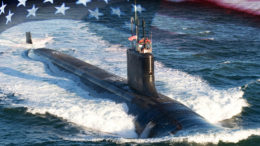 Virginia-class submarine USS Indiana (SSN 789). (U.S. Navy photo illustration by Stan Bailey.)