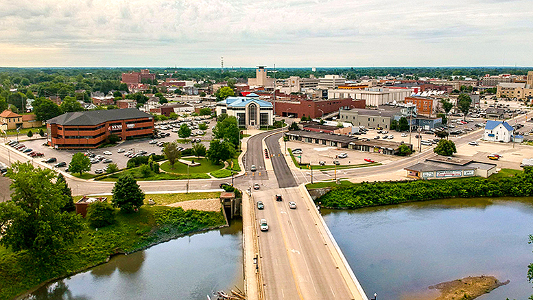 An aerial photo of the downtown Muncie area. Photo by: Intersection Advertising Agency