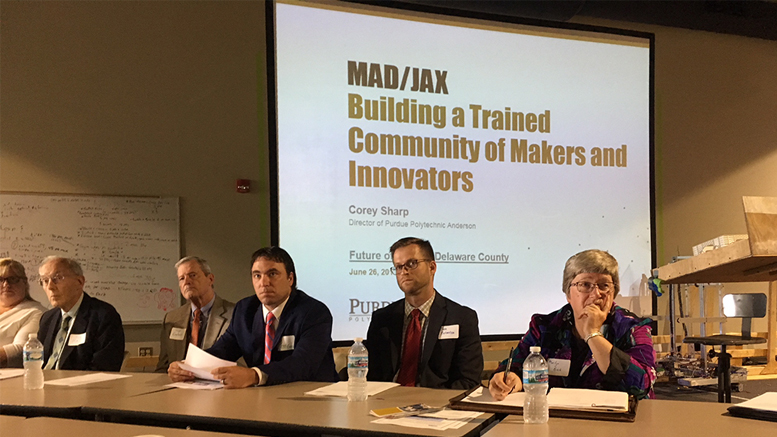 An initial planning meeting was held during the summer to discuss how to use Mad/Jax and its educational partners for training and youth development in Muncie and Delaware County. Photo provided.