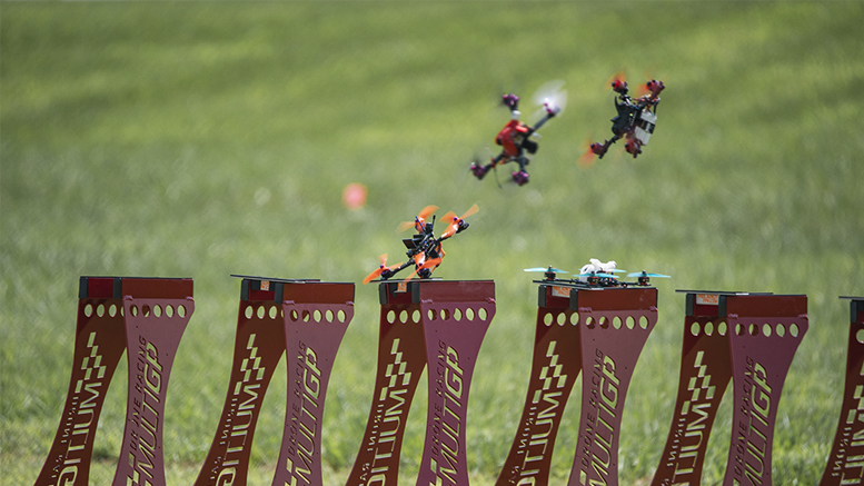 Racing drones are pictured at launch during a race. Photo by: Matt Ruddick