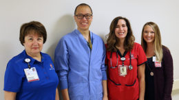 Pictured L-R: Marianne Nazarian, PT; Chih-ta Lin, MD; Brooke Long, BSN, RN, ONC; Alexandra Martin, BSN, RN, ONC, orthopedic coordinator. Photo provided.