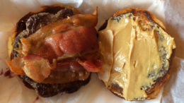 A peanut butter and jelly burger, jelly being under the patty. Photo by: Nancy Carlson