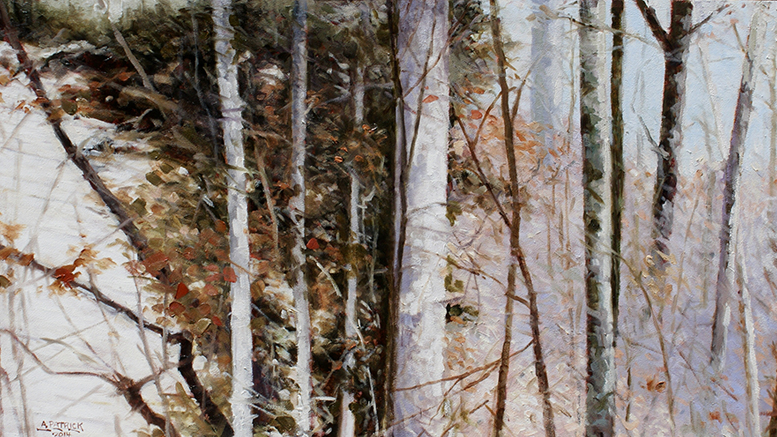 """Sandstone Bluff with Hemlocks"" by Alan Patrick, Oil on board"