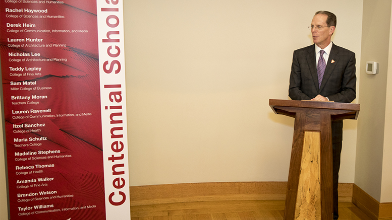 Ball State University President Geoffrey S. Means addresses 18 high-achieving college students during a luncheon hosted by Indiana's First Lady Janet Holcomb. Photo provided.