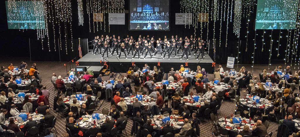 "Over 650 people attended the Delaware County Prevention Council's 23rd Annual Red Ribbon Breakfast and watched the ""Pride Team"" perform. Photo by: Mike Rhodes"