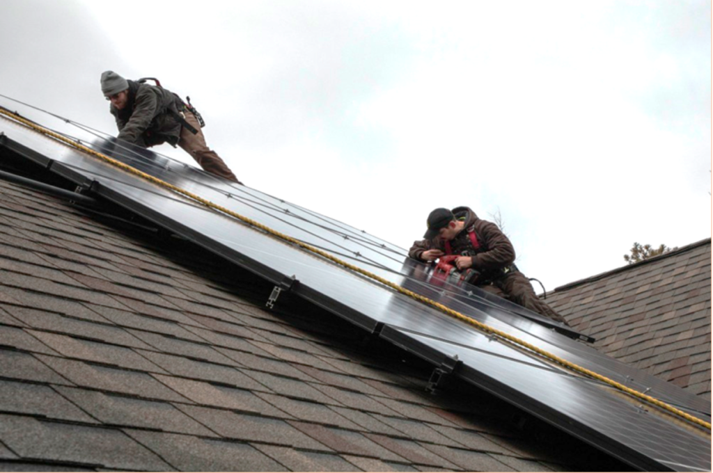 Solar panels being installed on a home. Photo provided.