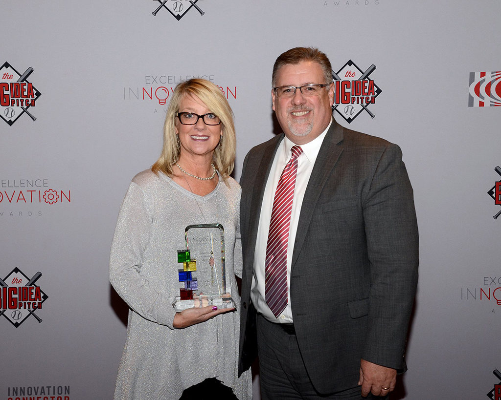 Heidi Hale is pictured with Richard Christ receiving her award. Photo by: Kyle Evans