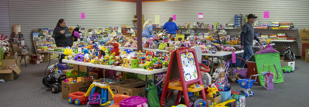 A wide selection of toys to choose from are pictured in the used toys section of the Toys For Tots office when photographed in late November.