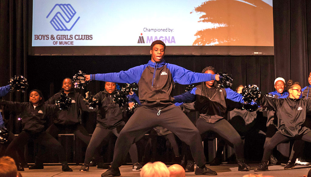 The Boys & Girls Clubs of Muncie dance team performs in front of the Great Futures Dinner attendees at the Horizon Convention Center. Photo provided