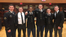 Nicolas Egierski of Granger, Indiana, a Ball State University junior computer science major and ROTC cadet (second to the right), poses with other Cadets hin the program after the Fall Commissioning Ceremony recently on campus.