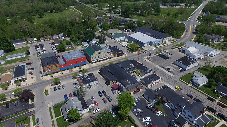 An aerial view of downtown Yorktown, IN. Photo courtesy of the Town of Yorktown.