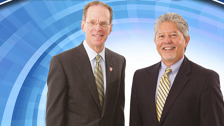 Ball State University President Geoffrey Mearns and IU Health/Ball Memorial Hospital's Dr. Jeff Bird, lead the Central City Leadership Team, established earlier this year. Photo courtesy of Alliance magazine.