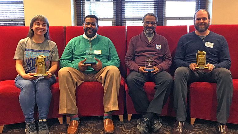 (L-R): Muncie Neighborhoods' 2018 IDEA Conference Neighborhood Award Recipients—Melinda Messineo (Riverside Normal City), Clifford Clemmons (Blaine Southeast), Brad King (Old West End), Frank Scott (Whitely) Photo by: Aimee West