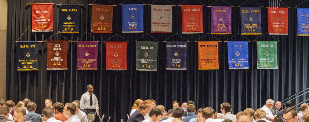 Some of the banners representing various chapters of Delta Tau Delta's northern division are pictured. Photo by: Mike Rhodes