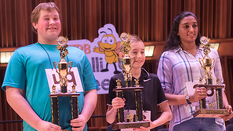 Andrew Toney (left), a student at Lee L. Driver Middle School in Winchester, was the winner of the 2019 WIPB Spelling Bee. The first runner-up was Trooper Bullock (middle) from Wes-Del Jr./Sr. High School and the second runner-up was Mahathi Raju, a student at Yorktown Middle School. Photo provided