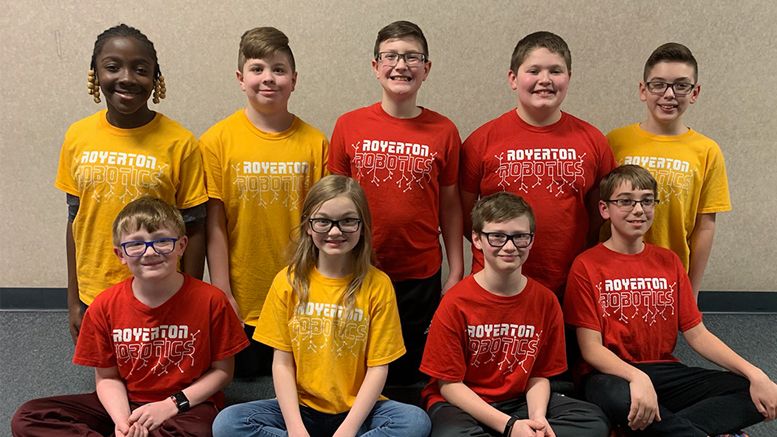 The Royerton Elementary School robotics team. Back Row (Left to Right): Elizabeth Bamidele, Noah Parrot, Mason Hopper, John Atkinson, Alex Miranda. Front Row (Left to Right): Caleb Hunter, Madison Mosser, Hudson Ewing, Luke Huston. Not pictured: Logan Thomas.