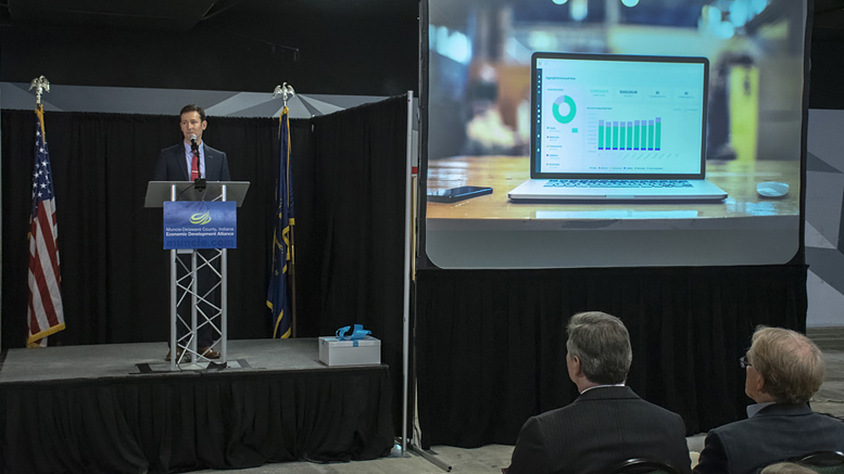Adam Unger, Accutech Systems President, makes remarks during a news conference announcing the company will move its headquarters to downtown Muncie. Photo by: Mike Rhodes