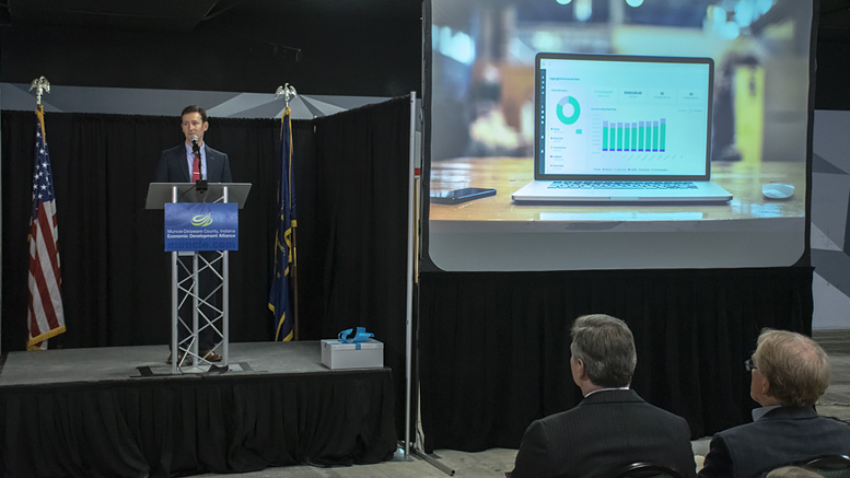 Adam Unger, Accutech Systems president, makes remarks during a news conference announcing that the company will move its headquarters to downtown Muncie. Photo by: Mike Rhodes
