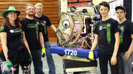 The PhyXTgears Drive Team poses with the team robot, Space Walrus, before a match. Photo by PhyXTgears Media Team Member Adam Schuler.