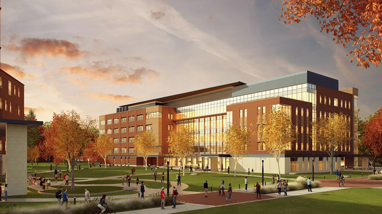 The new, 165,000-square-foot health professions building will consolidate Ball State's health-related programs. The building will include classrooms, laboratories, offices, a resource hub, simulation labs/suites and clinical spaces. Photo rendering provided.