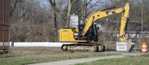 New, larger drainage pipes are being installed on the former Storer Elementary property.