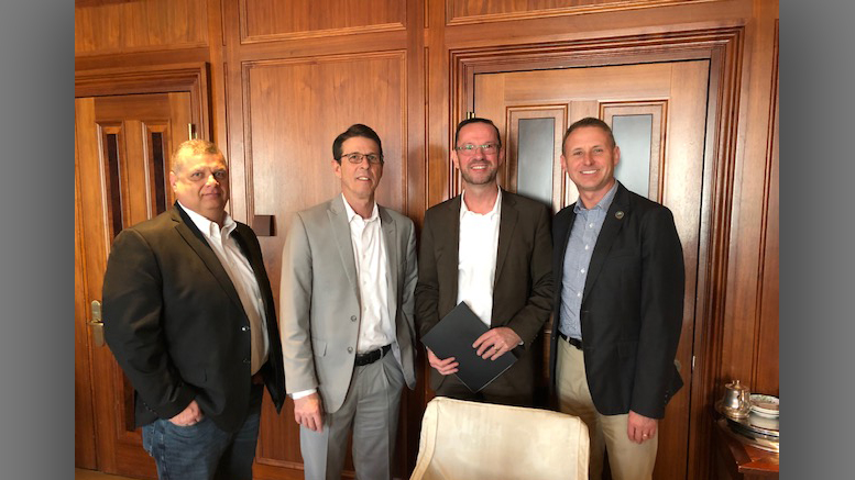 Pictured L-R: James King, Delaware County Commissioner Bill Walter, Director, ECI Regional Planning District Thomas Schwegmann, CEO PONS Atlantic Partners, GmbH, Berlin Brad Bookout, Director of Municipal and Economic Affairs, Delaware County, Indiana