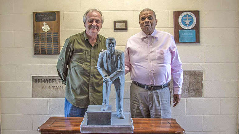 Hoosier artist, Bill Wolfe is pictured with Hurley C. Goodall and a miniature version of the lifesized statue. Photo provided