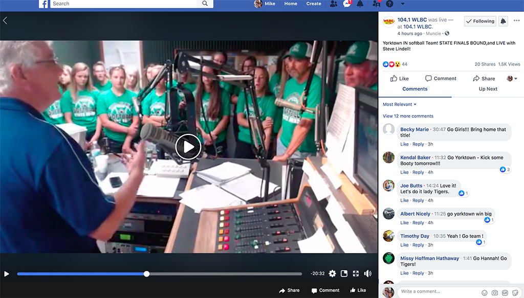 A screen capture of the live video stream. You can still watch the video by visiting the WLBC Facebook page.