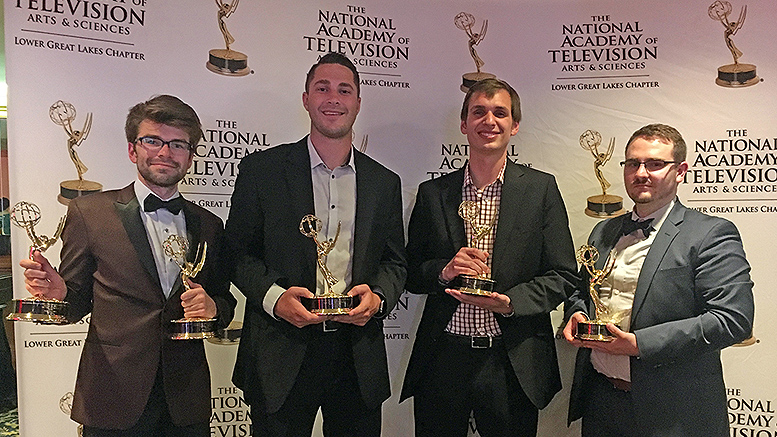 2018 grad Ryan Shank (left), won two Emmys at the annual Lower Great Lakes Chapter awards ceremony in Cleveland.  2019 grad Sam Ahrens, 2018 grad Logan Dubbs, and 2018 grad Jay Fields also received honors in Cleveland. Photo provided