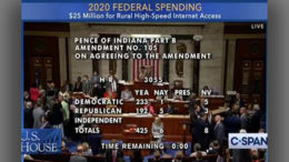 Pence amendment passes 425 to 6 and increases funding for rural broadband.