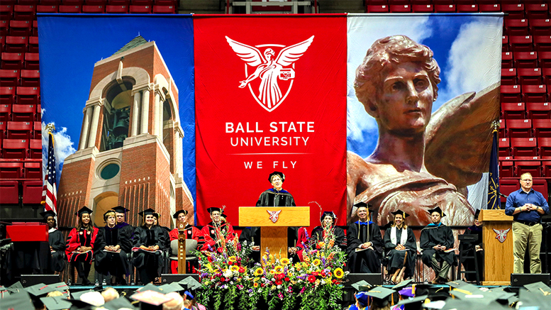 Ball State University commencement speaker Sharon Paulson addresses new graduates participating in ceremonies held at Worthen Arena. Photo provided