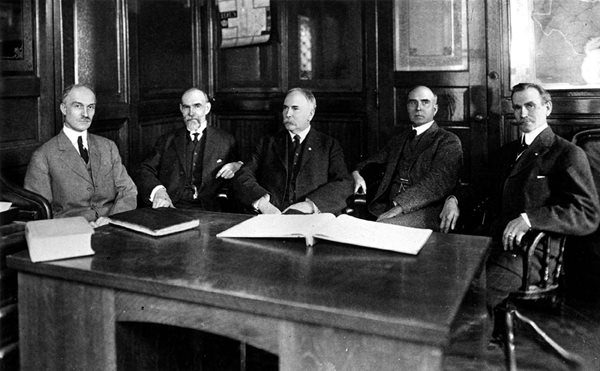 The Five Ball Brothers. Pictured from L-R: George A. Ball, Lucius L. Ball, Frank C. Ball, Edmund B. Ball, and William C. Ball.