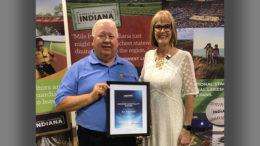 Jim Mansfield is pictured with Indiana Lt. Governor Suzanne Crouch receiving his award in ceremonies held earlier today. Photo provided