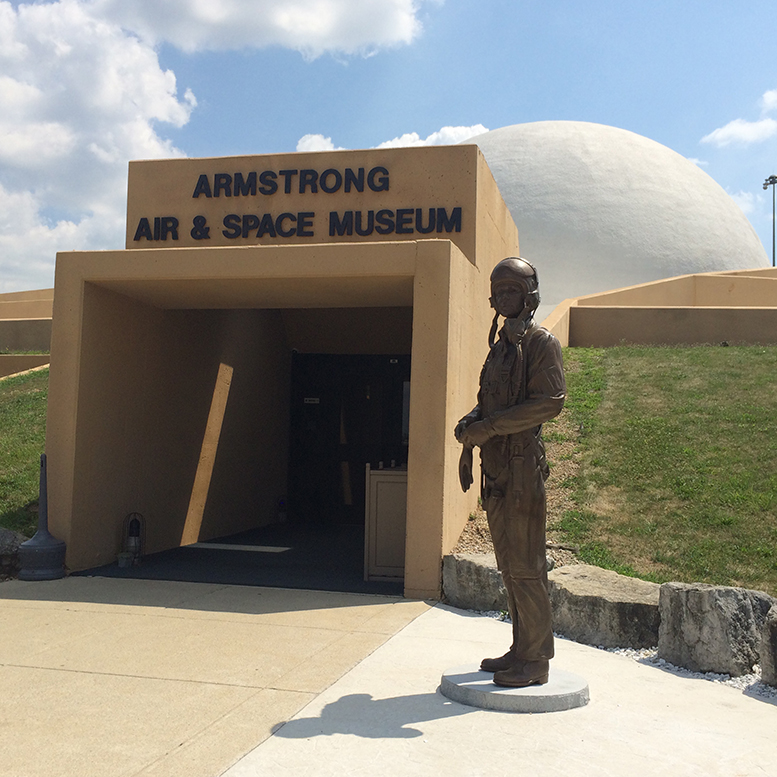 Neil Armstrong's statue welcomes guests to his museum. Photo by: Nancy Carlson