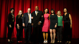 Mayor's Arts Awards Recipients for 2019. Pictured L-R: Rachel Replogle, Kim Miller, Chris Flook, Hurley Goodall, Michelle Bade, Krista Sides, Lynette Waters-Whitesell, Tania Said. Photo by: Deftly Creative