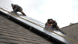 Solar panels being installed on a home. Photo provided