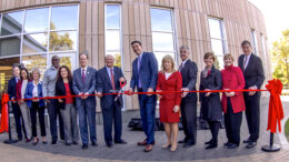 Ball State University formally unveiled the future of health care when the campus community came together for the ribbon-cutting at the new Health Professions Building. Photo provided