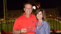 "This 2016 photo of Pat Botts and his wife Jane was taken during ""Muncie Journal night"" at Ball State's Scheumann Stadium. Photo by: Mike Rhodes"