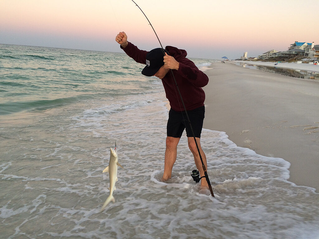 The writer's son lands a small shark fishing from shore. Photo by: Nancy Carlson