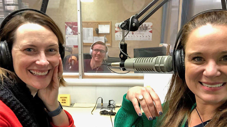 United Way Loaned Executives Co-Chairs Kristen McCauliff and Jennifer Stanley are pictured recording commercials with Woof Boom Radio's Creative Services Director, Simon Hoying. Photo provided