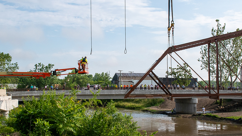 Kitselman bridge being set in its new location. Photo provided