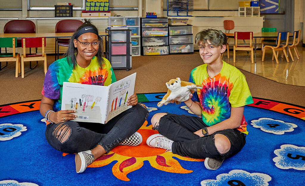 Macy Serf (Muncie Central) and Blake Fenton (Yorktown) from the MACC's Early Childhood Education program. Photo by: Kris Julius