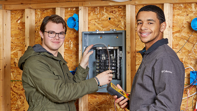Nick Childress (Monroe Central) and Kelton Balfour (Muncie Central) from the MACC's Electrical Technology program. Photo by: Kris Julius