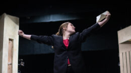Ingrid Schwartz, sophomore musical theatre option, rehearses her role of Malvolio. Photo provided